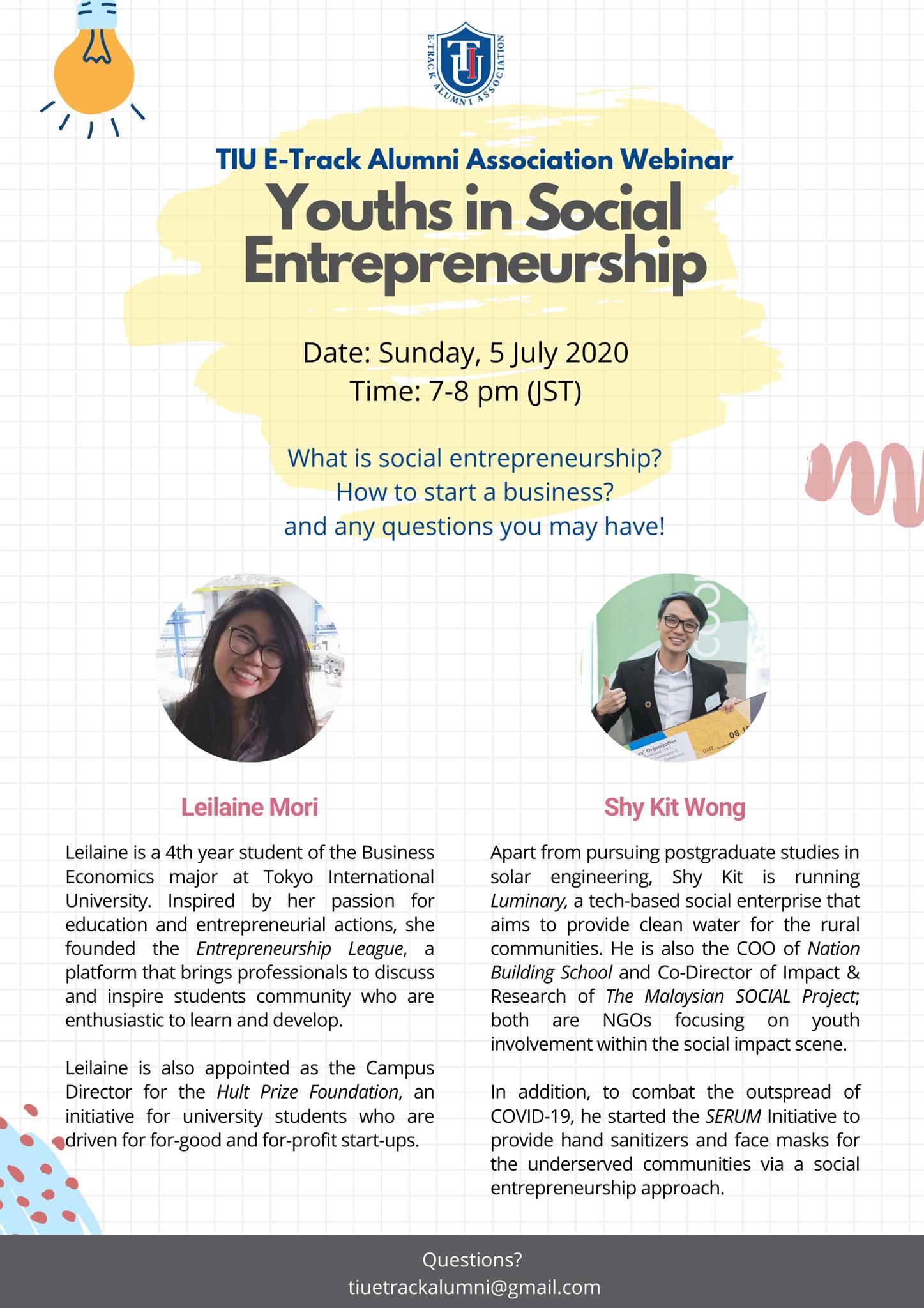 Webinar: Youths in Social Entrepreneurship